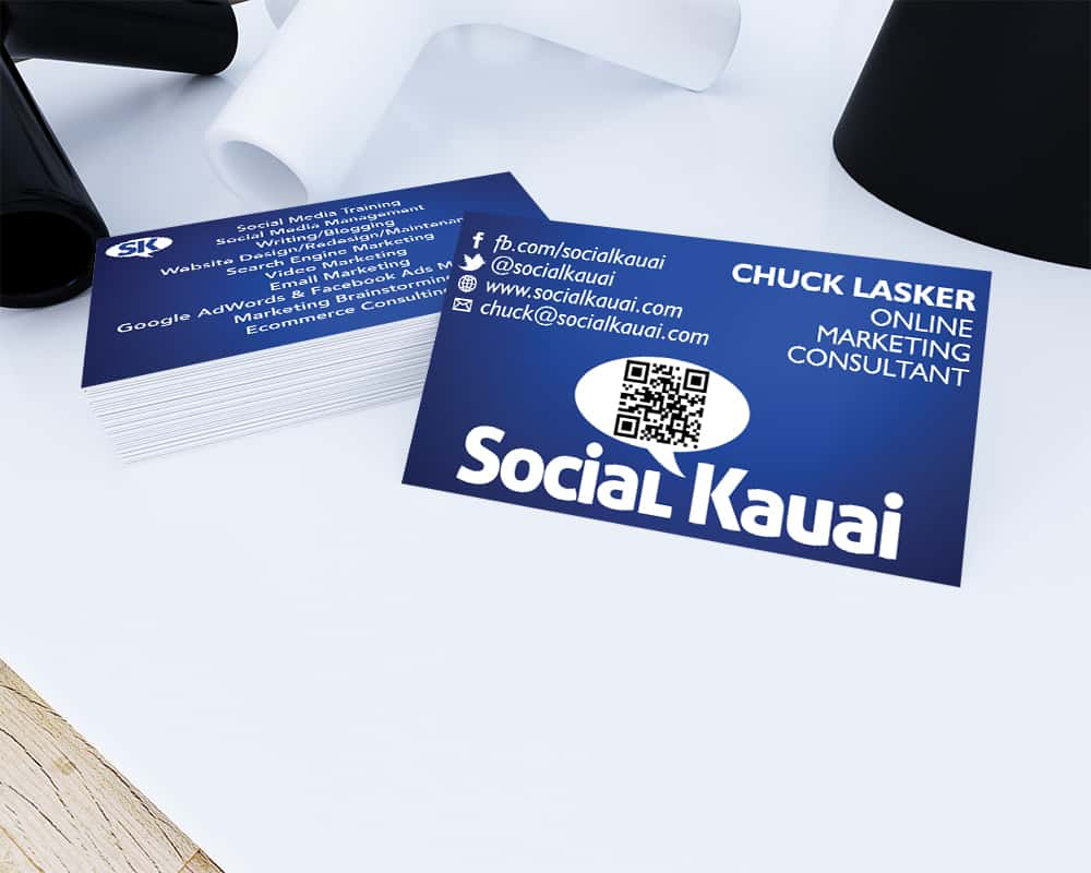 Social kauai portfolio social kauai online marketing web design chuck business card mockup reheart Image collections